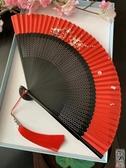 折扇 大紅色女式手繪扇子小折扇中國風古風古典日式便攜折疊可跳舞蹈扇【全館免運】