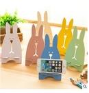 88柑仔店~越獄兔手機支架 韓國創意小兔子座 木質懶人床頭手機托架