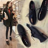 皮鞋牛津鞋 英倫風女鞋系帶學生復古牛津鞋學院風粗跟單鞋 巴黎春天