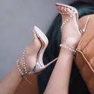 銀色透明高跟鞋女細跟性感珍珠一字帶涼鞋女 果果輕時尚