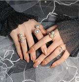戒指【一套四個】韓國女網紅珍珠戒指套裝ins關節食指戒模特日常街拍 雲朵