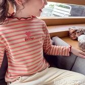 女童上衣 女童條紋打底衫秋裝新款洋氣兒童上衣小女孩韓版花邊長袖T恤 快速出貨