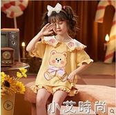 兒童睡衣女童夏季純棉短袖薄款套裝中大童13歲女孩公主寶寶家居服 小艾新品