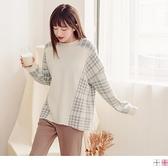 《FA2388-》日系格紋配色包芯紗厚針織毛衣/上衣 OB嚴選