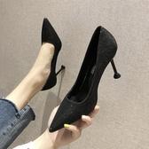 女鞋韓版百搭淺口網紅亮片法式少女高跟鞋女細跟單鞋 格蘭小舖
