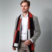 羊毛圍巾-冬季色塊拼接休閒男女披肩4色73ph14【巴黎精品】