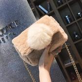 毛毛包包女毛絨單肩包斜背包迷你鏈條小包 ☸mousika