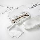 白色磨砂半透明吸鐵扣眼鏡盒抗壓耐磨眼鏡盒超輕【古怪舍】