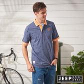 【JEEP】滿版造型印花短袖POLO衫-藍