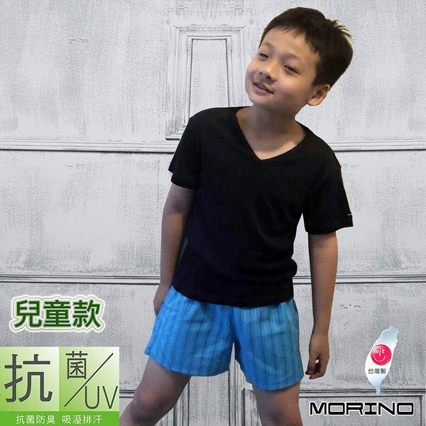 【MORINO摩力諾】防疫MIT兒童抗菌防臭速乾短袖V領衫/T恤(黑色)