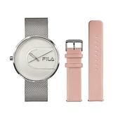 【FILA 斐樂】簡約設計腕錶錶帶套組-氣質銀x粉/38-178-001-SET B/台灣總代理公司貨享兩年保固