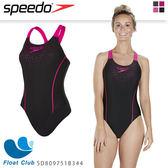 【SPEEDO】女人運動連身泳裝 Gala Logo Medalist (黑X粉紅) SD809751B344