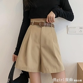 休閒短褲 工裝褲女西裝短褲春季2021新款直筒寬鬆闊腿高腰A字五分薄款褲子 618購物節