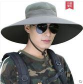 帽子男大檐遮陽帽夏天戶外帽透氣防曬帽防紫外線釣魚帽遮臉太陽帽CY 酷男精品館
