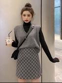 秋冬韓版新款套頭V領網紅ins套裝裙寬鬆短款針織馬甲女三件套 雅楓居
