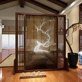 新中式屏風隔斷客廳實木裝飾入戶玄關行動半透明紗鏤空簡易座屏