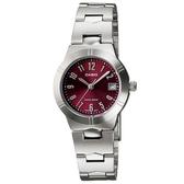【CASIO】都會簡約超清晰不鏽鋼腕錶-紅(LTP-1241D-4A2)