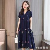 媽媽洋裝 2019新款夏裝連身裙大碼女裝中老年寬鬆版中長款棉綢裙子 LJ1293【VIKI菈菈】