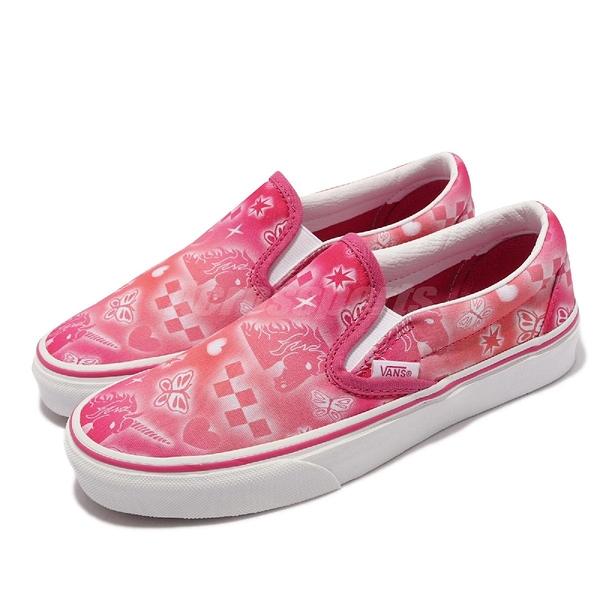 Vans 休閒鞋 Classic Slip-On 桃紅 白 獨角獸 光暈 女鞋 懶人鞋 【ACS】 VN0A33TB42W