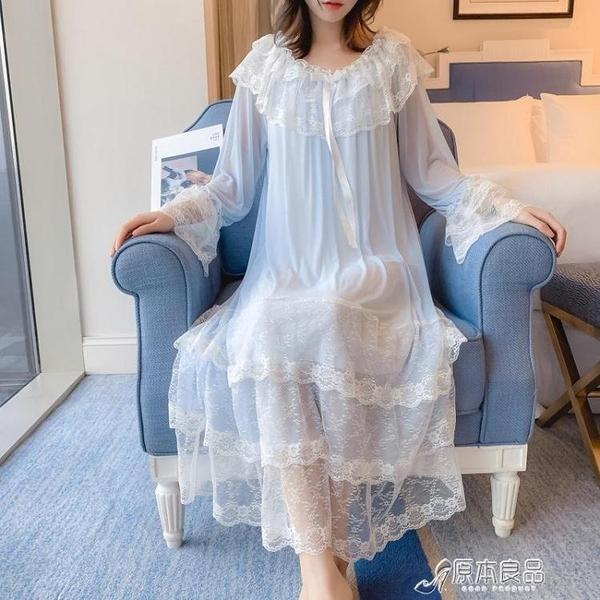 睡衣 春夏季可愛甜美女神唯美宮廷風蕾絲公主睡裙仙女睡衣家居服有大碼 16原本