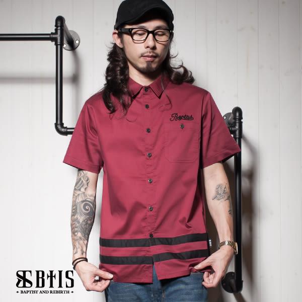 【BTIS】下擺條紋拼接 短袖襯衫 / 酒紅色