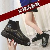 短靴短靴女鞋亮皮鞋馬丁靴英倫風平底鞋女靴厚底女單靴 果果輕時尚