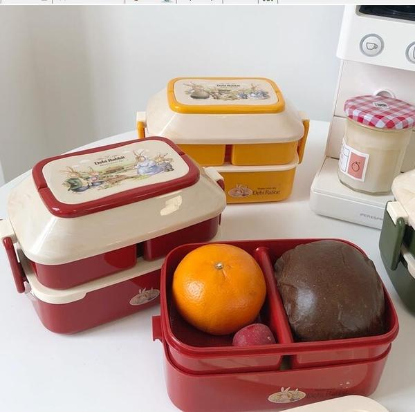 便當盒 韓國ins復古可愛兔子日式雙層分格防漏便攜飯盒情侶大容量便當盒【快速出貨八折搶購】