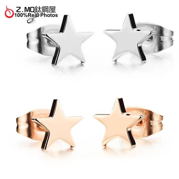 [Z-MO鈦鋼屋]316L鈦鋼打造/星星造型/女孩甜美風格/典雅設計/見面禮物一對價【EKS297】