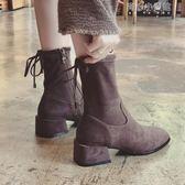 靴子女小短靴chic單靴粗跟女高跟鞋騎士英倫風 育心小賣館