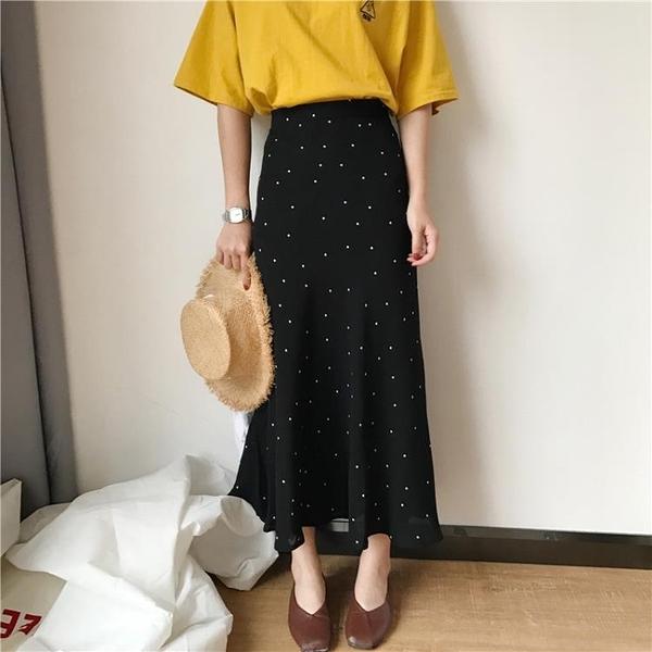 [超豐國際]夏季高腰顯瘦波點半身裙女寬松中長款A字裙休閑氣質1入