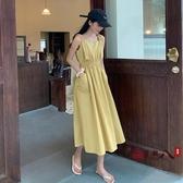 長洋裝 夏季裙子2020年新款韓版時尚收腰連身裙女裝中長款氣質吊帶裙 VK542