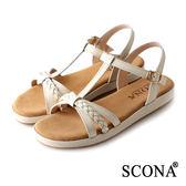 SCONA 蘇格南 全真皮 精緻編織交叉舒適涼鞋 米色 22727-1
