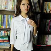 【大尺碼-S-41EF】森奈健-優雅成熟OL吸濕排汗領口綁帶七分袖女襯衫(白色)