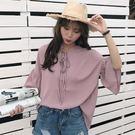 (全館一件免運)DE SHOP~(AS-696)復古繫繩花邊袖雪紡襯衫純色中袖打底衫