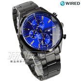 WIRED 經典前衛三眼計時腕錶 防水男錶 IP黑電鍍x藍 AY8018X1-7T92-0SM0B