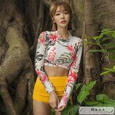 韓國潛水服女游泳衣分體平角高腰遮肚長袖防曬速干沖浪服泳裝