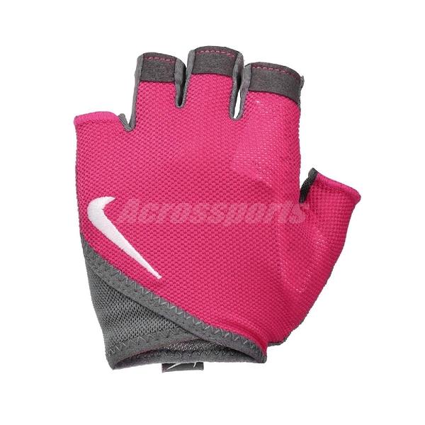Nike 手套 Gym Essential Fitness Gloves 桃紅 灰 女款 健身手套 重訓 【PUMP306】 N0002557-628