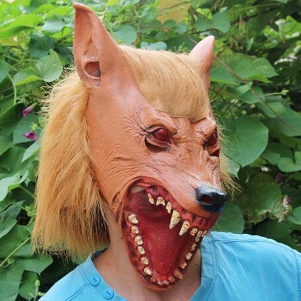 狼面具 萬聖節 狼人 狼嚎 大灰狼 灰太郎 面具/眼罩/面罩 cosplay 派對 整人 變裝【塔克】