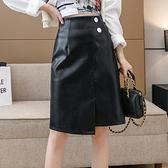 pu皮裙半身裙~2162#包臀短裙女開叉半身裙高腰皮裙修身顯瘦設計感裙子T621快時尚