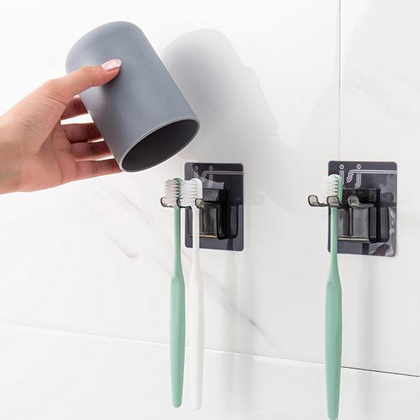 Qmishop 掛壁式牙刷架牙刷杯套裝素雅色漱口杯衛生間牙刷架組合裝【J884】