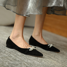 尖頭珍珠低跟鞋反羊絨透氣淺口鞋-標準碼-夢想家-0807