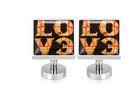 不鏽鋼袖釦 - LOVE 愛 方形...