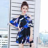 小清新裙式連身泳衣女保守遮肚性感顯瘦大小胸聚攏學生韓國泳裝女 電購3C