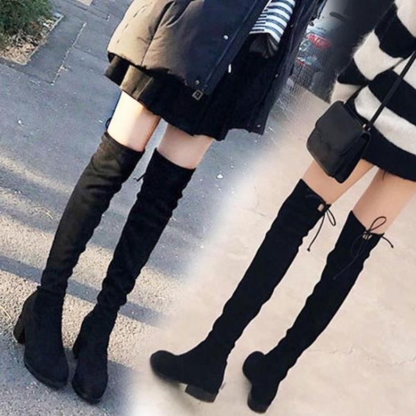 過膝長靴 過膝靴女新款高筒靴高跟冬季靴子平底騎士加絨長筒靴【快速出貨】