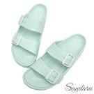 防水鞋 雨鞋 親膚舒適輕量雙扣拖鞋-淺藍