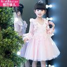 公主禮服 女童鏤空袖春裝2018新款韓版洋氣花邊袖連衣裙 GB1556『優童屋』