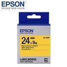 【愛普生EPSON】LK-6YBP 24mmx9M 粉彩系列 黃底黑字 標籤帶