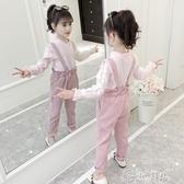 女童吊帶褲 女童秋裝套裝2019新款韓版兒童洋氣童裝春秋時髦吊帶褲兩件套