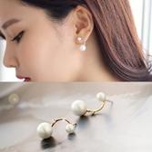 925純銀耳環(耳針式)-珍珠鑲鑽生日情人節禮物女飾品73ag152【巴黎精品】