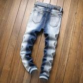 特惠 亞馬遜外貿新款風格個性男士牛仔褲潮流彈力破洞男式牛仔褲潮